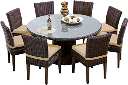 Amazon Com Tk Classics Venice 60 Inch Outdoor Patio Dining Table With 8 Armless Chairs Wheat Furniture Decor