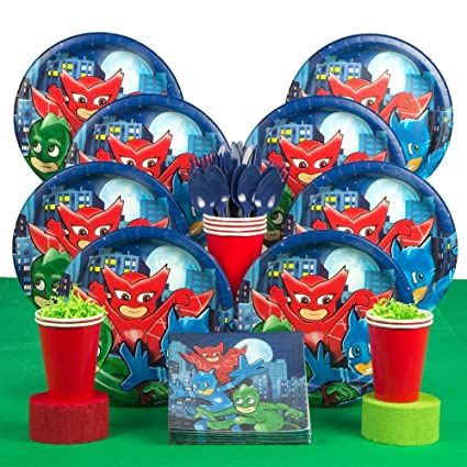 PJ Masks Party Supplies Deluxe Tableware Kit - Plates, Napkins, cups