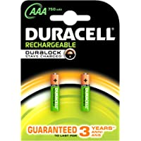 Duracell Plus 5000166 AAA Rechargeable Batteries 750 mAh (Pack of 2, Green)