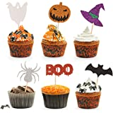 Donoter 48 Pcs Glitter Halloween Cupcake Toppers Boo Bat Pumpkin Spooky Spider Witch Hat Cake Picks for Halloween Party…