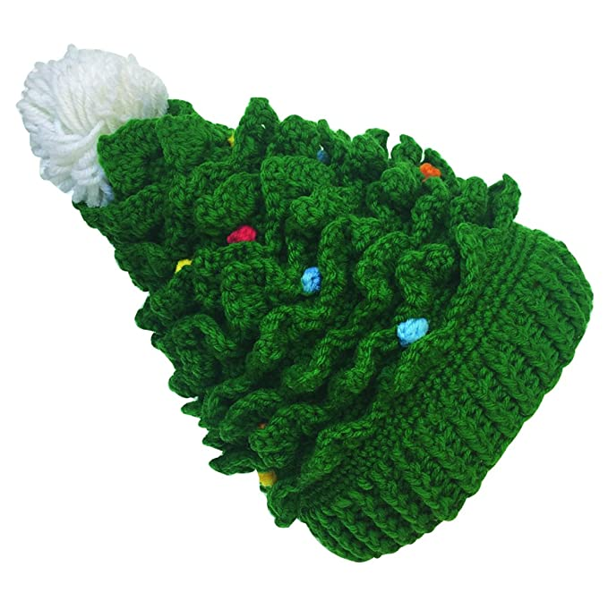 Crochet Christmas Tree.Kafeimali Baby Christmas Tree Knit Hat Green Red Crochet Beanie Reindeer Caps