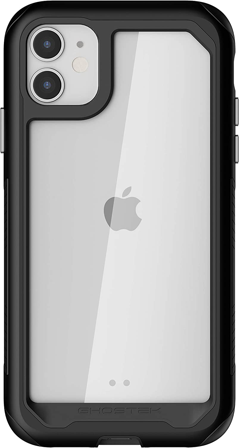 Ghostek Atomic Slim Clear iPhone 11 Case with Protective Heavy Duty Aluminium Bumper Rugged Hard Shockproof Black Metal Protector Wireless Charging Compatible Design 2019 iPhone11 (6.1 Inch) - (Black)