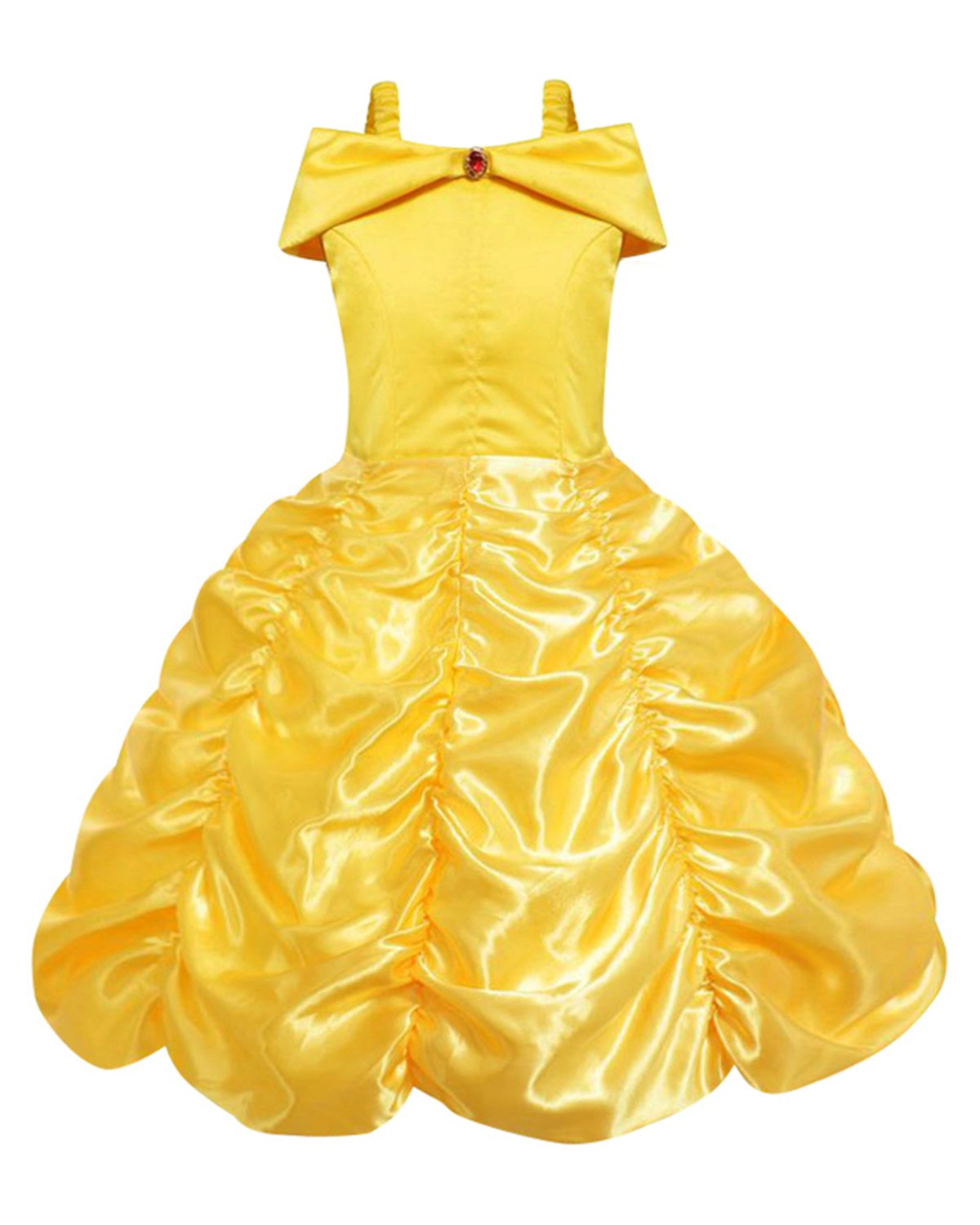 Eshiree Layered Princess Belle Costume Off Shoulder Yellow Party Dress up (Yellow, 4T)