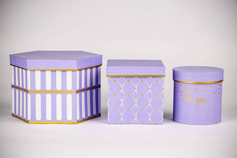 set da 3 scatole regalo con scritta e coperchio rotonde scatole decorative con motivi a fiori esagonali DECORPRO quadrate in diverse forme e fantasie