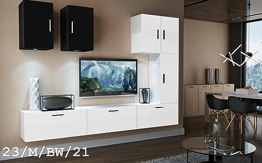 HomeDirectLTD Moderno Conjunto de Muebles de salón Concept 23, Muebles para Sala de Estar, Modernos Muebles modulares con Iluminación LED Opcional (23_M_BW_21, LED Azul): Amazon.es: Hogar