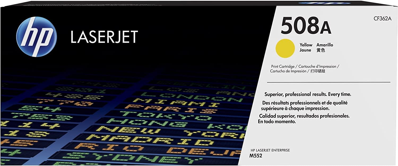 HP CF362A CF 362A 508A - Tóner para HP Color Laserjet Enterprise M 553 DN (5% aprox.), color amarillo