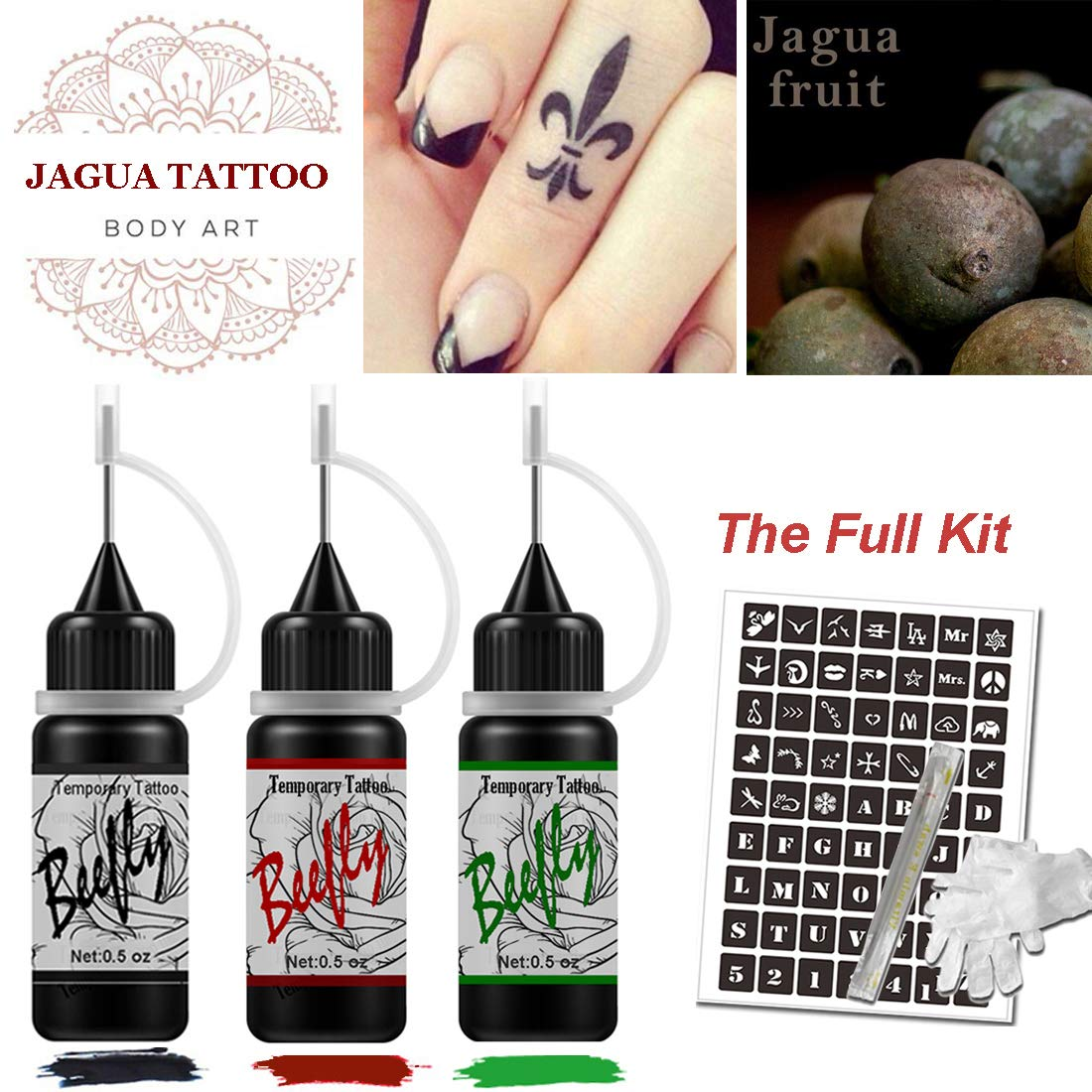 Beefly Jagua Semi-permanent Tattoo Kit for Women (Organic Jagua Fruit Based) with Special Design Tattoo Stencils,DIY Tattoos Full Kit for Party, 3 Bottles (Black/Red/Green) ... by Beefly
