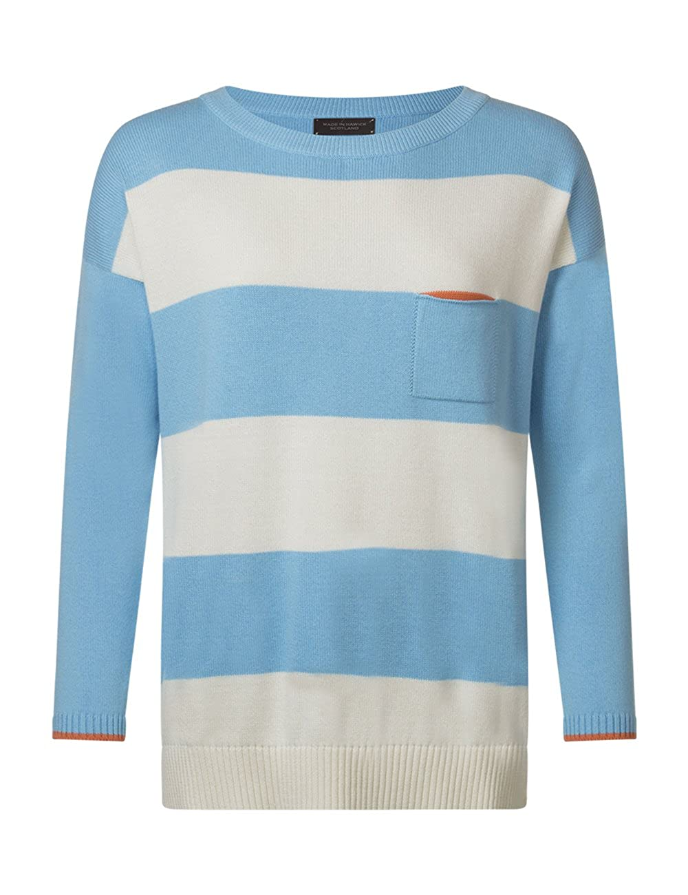Great /& British Knitwear Ladies JY202 100/% Cotton Wide Striped Boyfriend Fit Pullover Made in Scotland