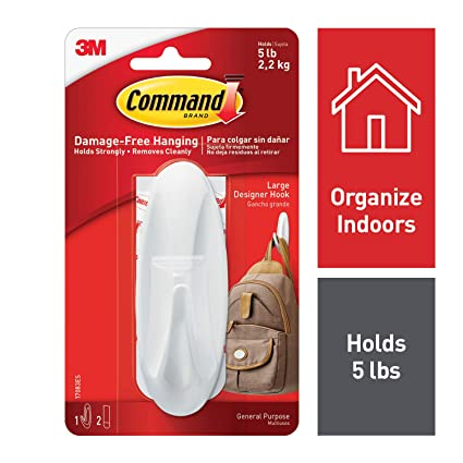 Command Designer Large Plastic Hook(White,1 hook and 2 strips)