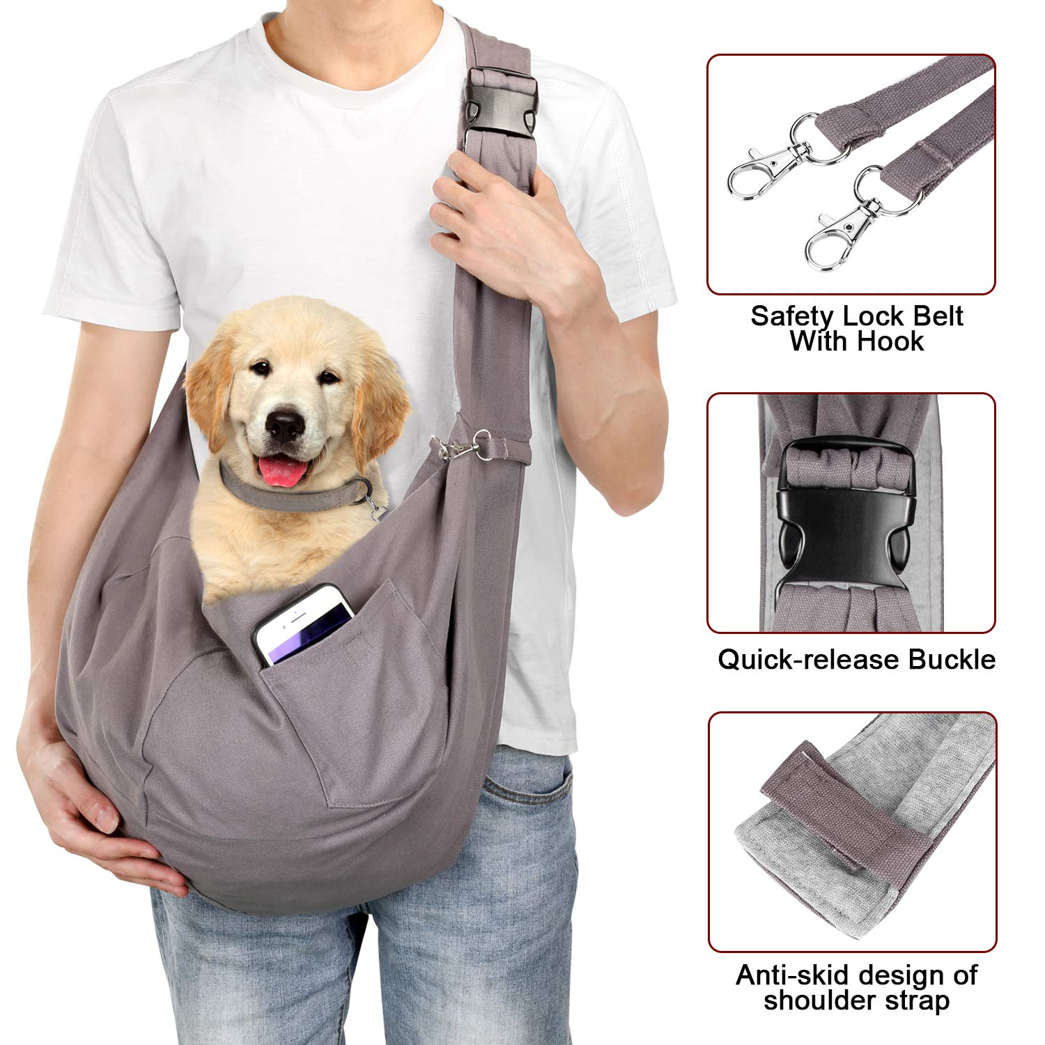 OWNPETS Pet Sling Carrier, Pet Sling Carrier Bag Safe,Fit 15~22lb Cats&Dogs, Comfortable, Adjustable, Perfect for Daily Walk, Outdoor Activity and Weekend Adventure by OWNPETS