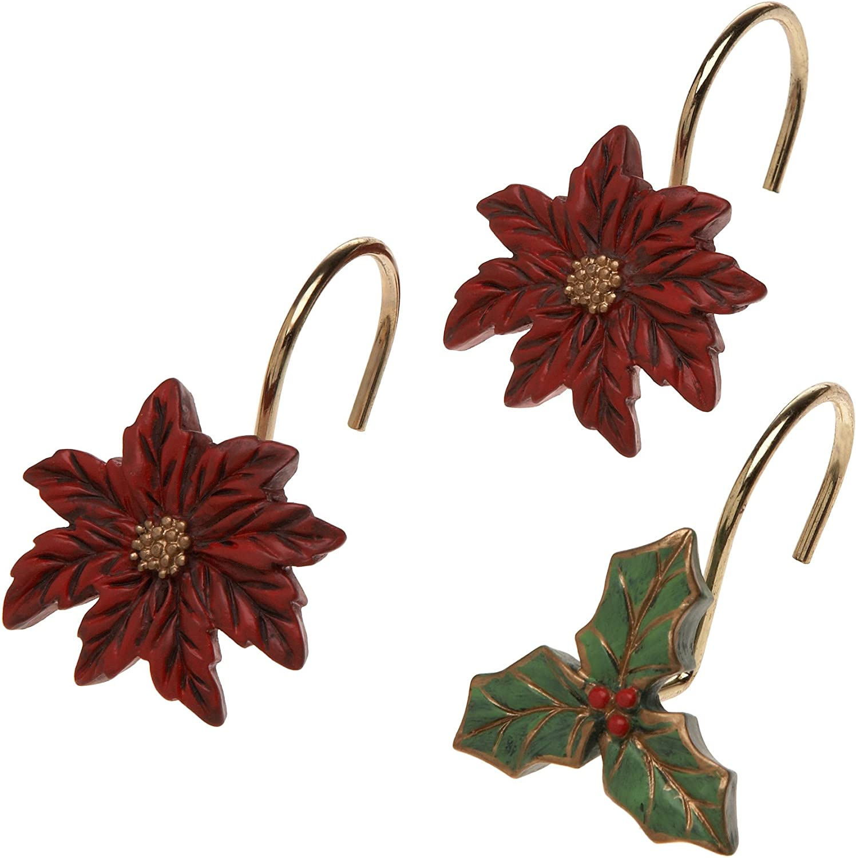 Carnation Home Fashions Poinsettia Ceramic Resin Shower Curtain Hooks