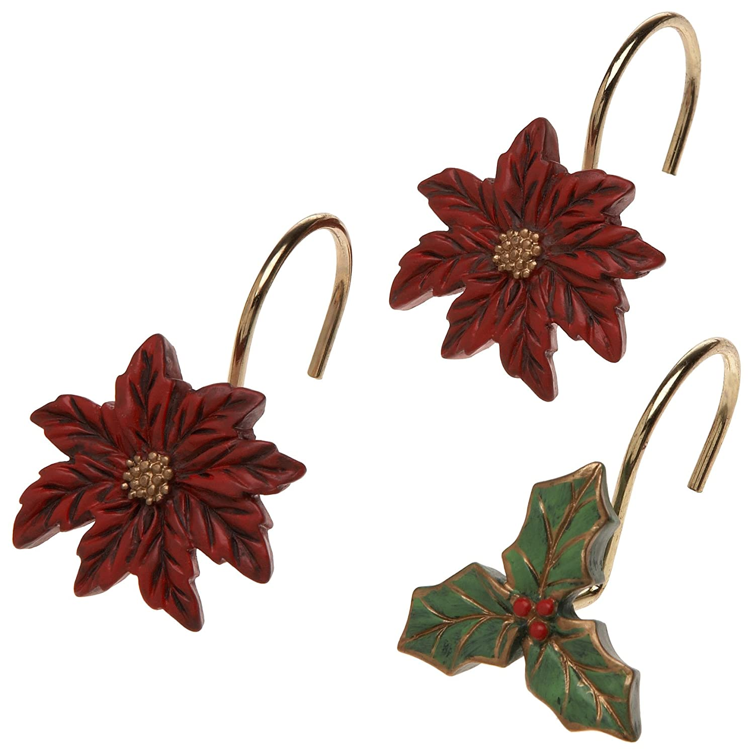 Poinsettia Ceramic Resin Shower Curtain Hooks