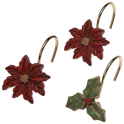 Delightful Carnation Home Fashions Poinsettia Ceramic Resin Shower Curtain Hooks