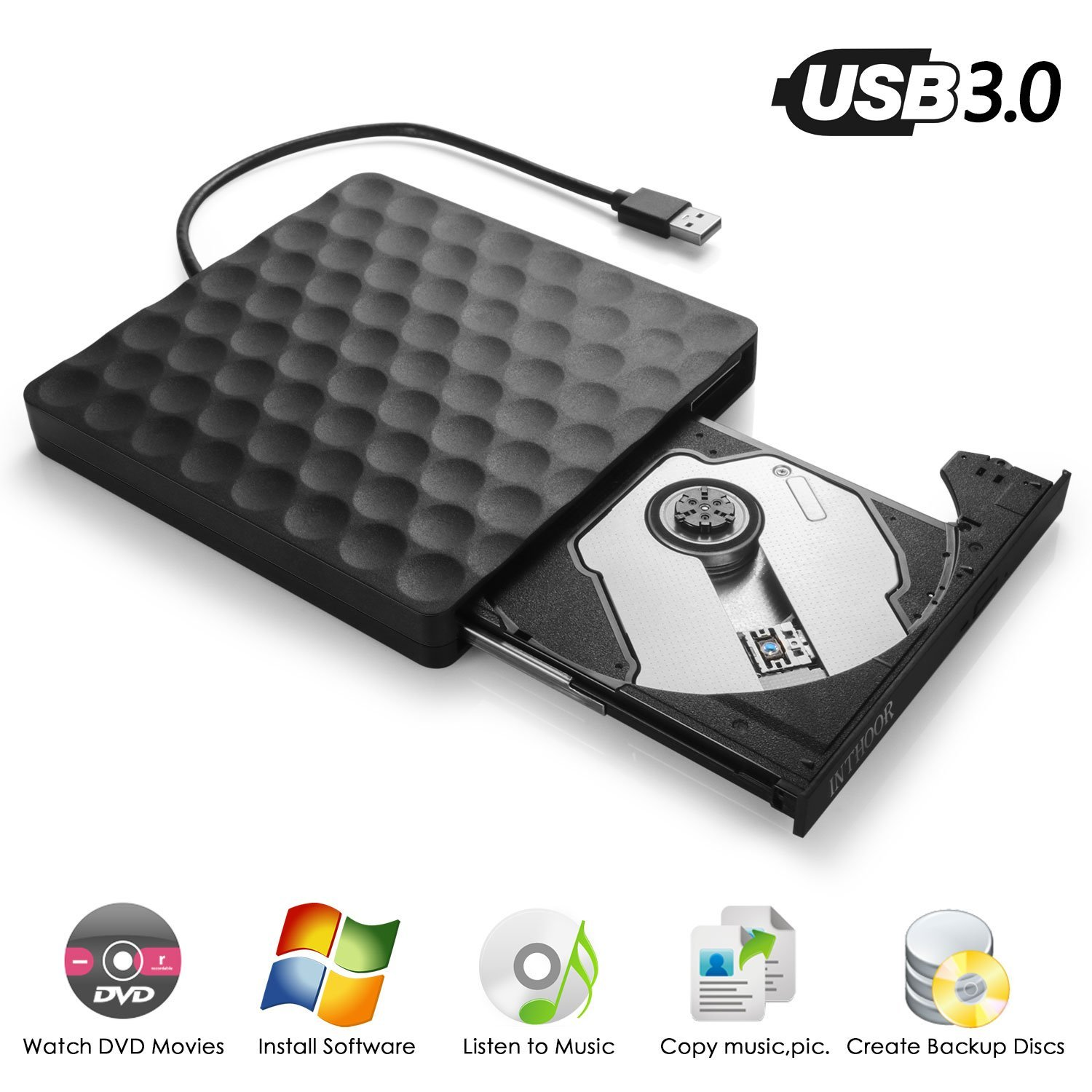 External DVD CD Drive, InThoor USB 3.0 Portable DVD CD Burner/Writer/Rewriter with High Speed Data Transfer for Laptop Desktop Support Windows XP/7/8/10/Vista/Mac OS (dvddrive)