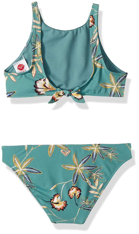 b02371d90a7aa Amazon.com: Roxy Big Girls' Born in Waves Crop Top Swimsuit Set, Trellis  Bird Flower Youth, 8: Clothing