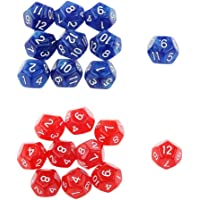 FITYLE 20pcs Twelve Sided Dice for D&D RPG Party Favor Game Dices Kid Play Red&Blue