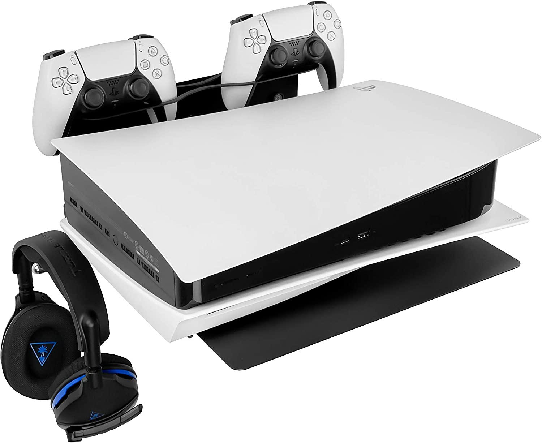 Borangame Soporte de Pared para PlayStation 4 PS4 (Normal/Pro/Slim), PlayStation 5 PS5 (todos los modelos) y XBOX (One/One S/One X), Base Horizontal, Metálico con Soporte para Mandos y Auriculares