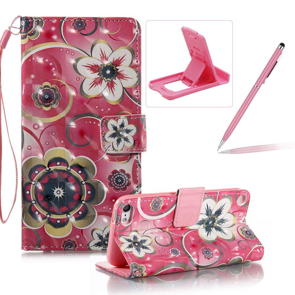 ストラップレザーケースのiPod Touch 5、財布スタンドフリップケースfor Ipod Touch 6、herzzer Bookstyle Stylish Pretty 3dパターン磁気PUレザーwithソフトシリコンインナーバックケース B075JF3RCT  デザイン#2