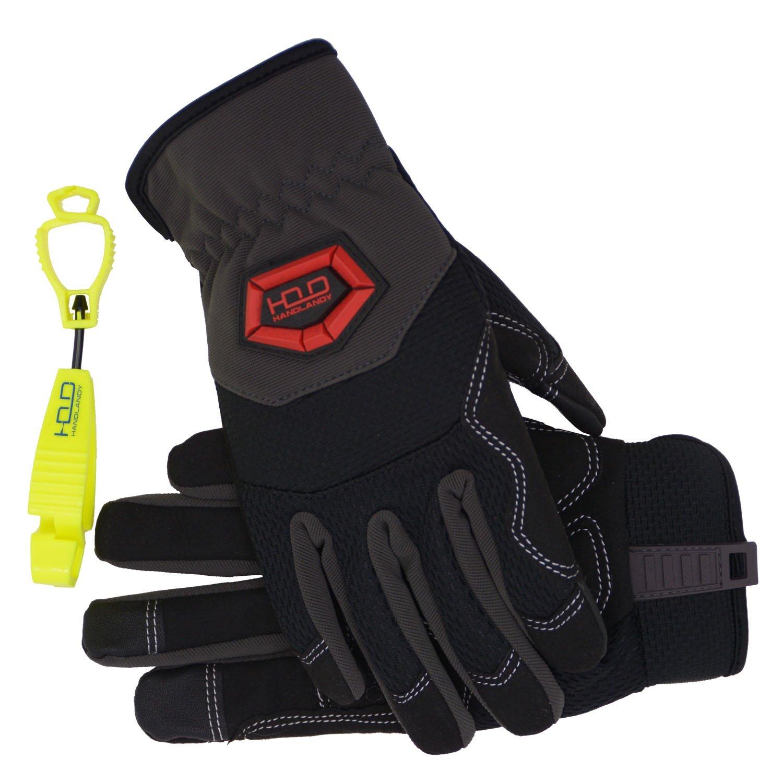 Handlandy Flex Grip Work Gloves Mens, Anti Vibration Impact Gloves- SBR Padded Palm, Improved Dexterity, Stretchable, Extra Large by HANDLANDY (Image #2)
