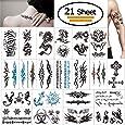 Tatouage Temporaire pour Adulte, Vibury 21 Feuilles Tatouages éphémères, Cœur de dragon- Dragon de tigre Scorpion Graphique de crane