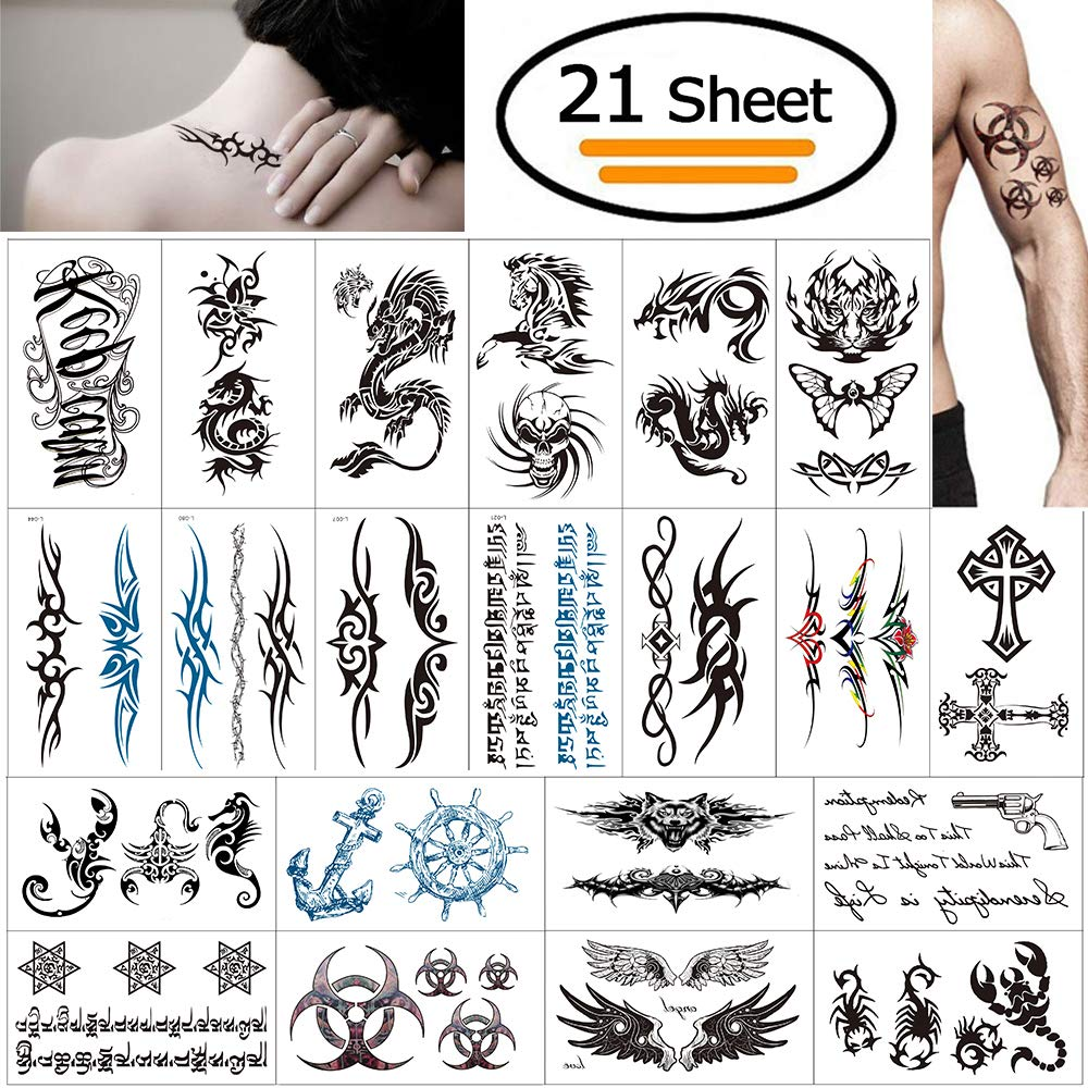 Temporary Tattoos for Adult, Vibury 21 sheets Waterproof Body Tattoo Stickers Arm Shoulder Chest & Back Make Up- Dragon Heartbeat Tiger Vine Scorpion Graphic Skull
