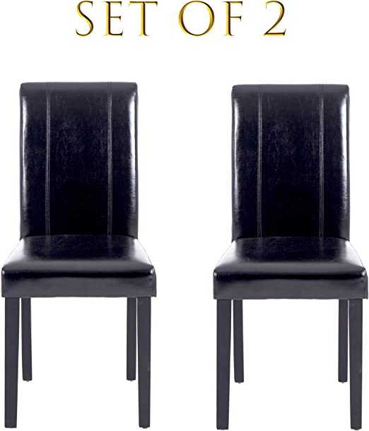 Amazon Com Set Of 2 Modern Pu Upholstered Dining Chairs Elegant Design Dining Room Chairs Black Set Of 2 Chairs