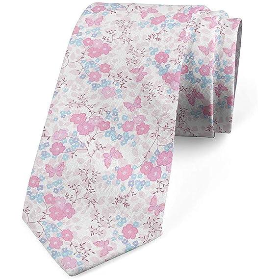 Corbata, flores rosas y mariposas, rubor azul bebé y rosa: Amazon ...