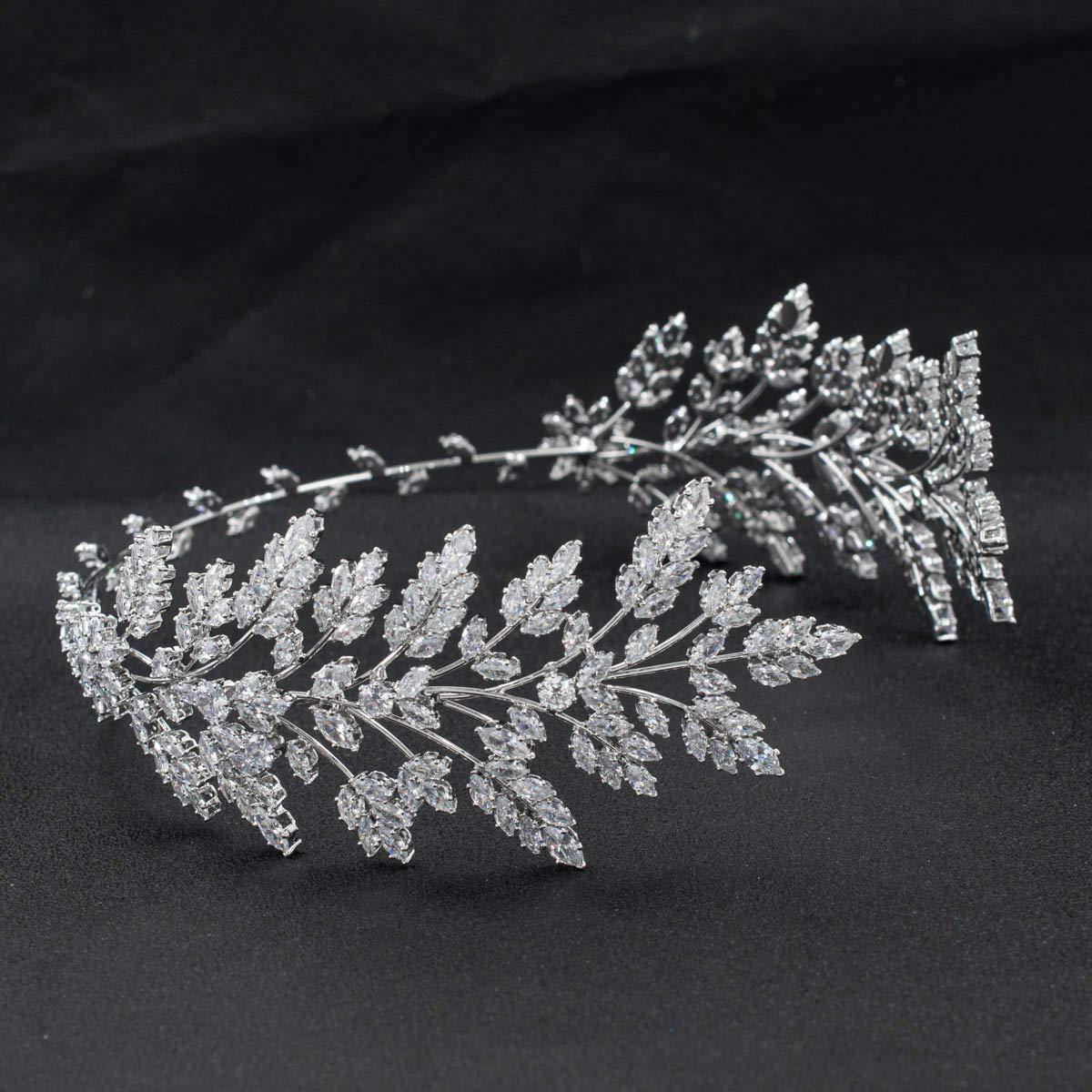 free Handmade List price Zirconia Soft Leaves Headband Wedding Hair Crystal for