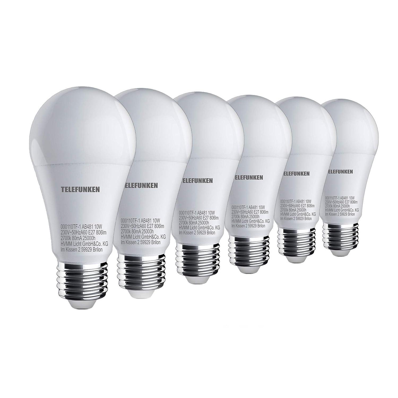 Telefunken – HD LED Lampe I E27 | Leuchtmittel 6er Set I warm weißes Licht I A+ I 10W I 806 Lumen I 2700 Kelvin I Ra>90 I 60x120mm (DxH) HVMM LICHT GmbH & Co. KG