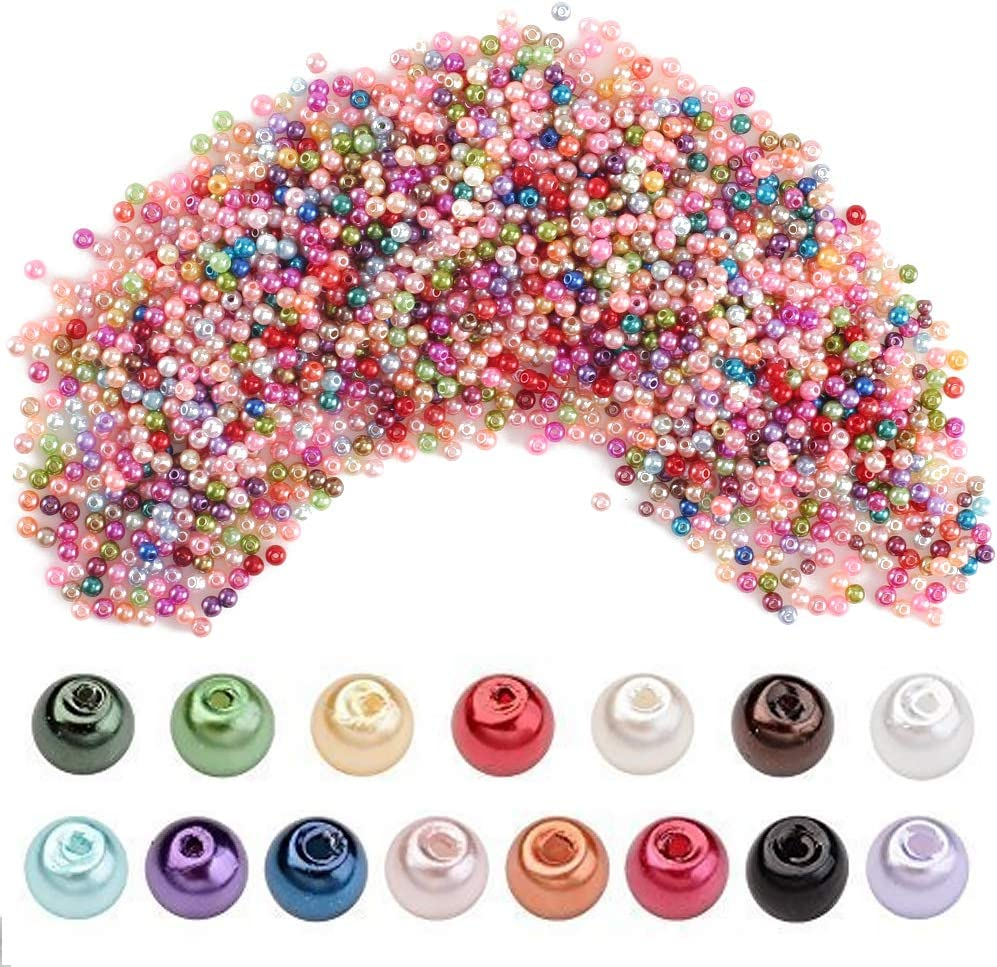FOGAWA 2000Pcs Kit Cuentas y Abalorios Colores para Hacer Pulseras Manualidades Abalorios Cristal Perlas de Vidrio 4mm Abalorios Redondos de Cristal para Bisuteria Collar Niño DIY