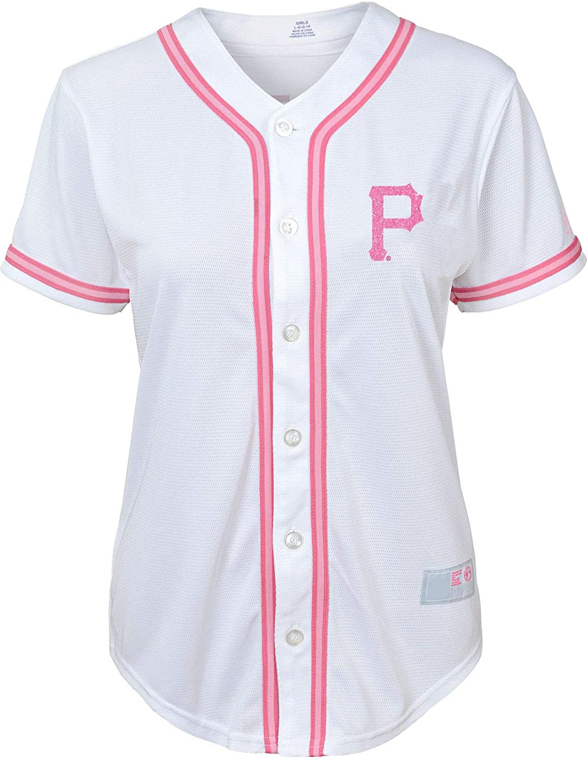 b49c56639bb Amazon.com  Outerstuff Pittsburgh Steelers Girls Youth White Pink Cool Base  Blank Jersey  Clothing