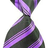 Allbebe Classic Striped Black Purple Jacquard Woven 100% Silk Men's Tie Necktie