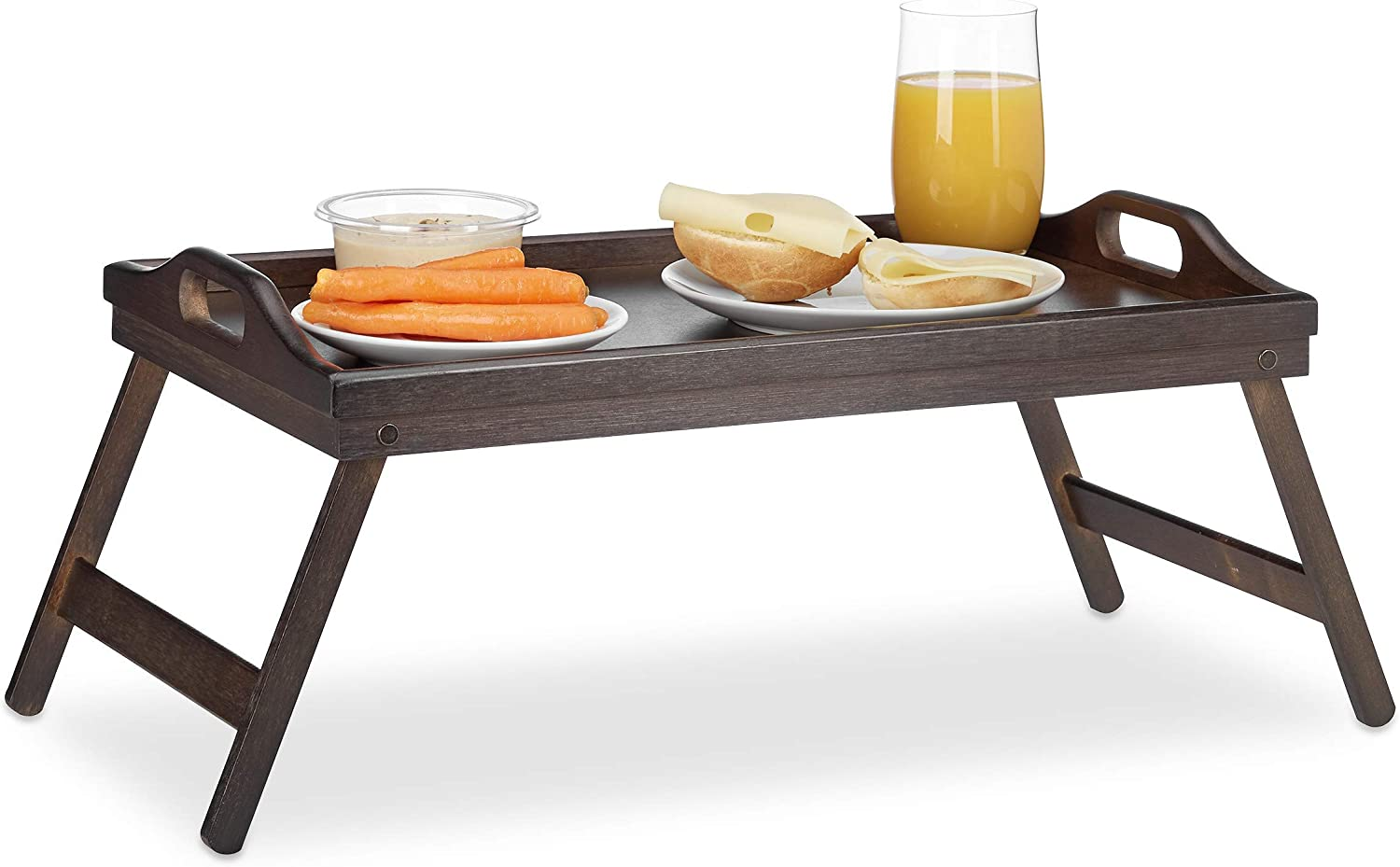 Relaxdays Bamboo Bed Tray, Folding, Handles, Raised Edge, for Breakfast in Bed and Serving, HWD: 22x61.5x30cm, Dark Brown