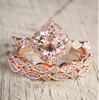 225 carat morganite diamond trio wedding bridal ring set in 10k rose gold with engagement ring - Morganite Wedding Ring Set