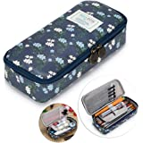 BTSKY Cute Pencil Case -- High Capacity Floral Pencil Pouch Stationery Organizer Multifunction Cosmetic Makeup Bag, Perfect Holder for Pencils and Pens (Dark Blue)