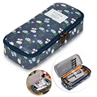 (Dark Blue) - BTSKY Cute Pencil Case - High Capacity Floral Pencil Pouch Stationery Organiser Multifunction Cosmetic Makeup Bag, Perfect Holder for Pencils and Pens (Dark Blue)