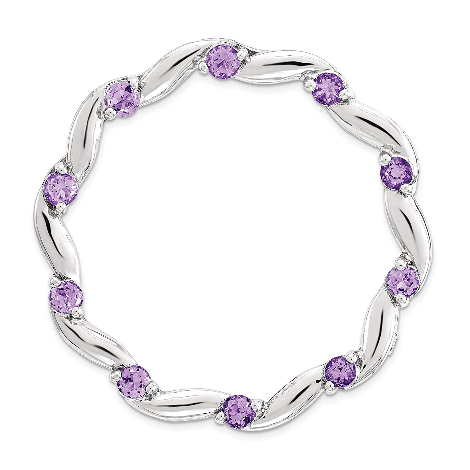 Bonyak Jewelry Sterling Silver Stackable Expressions Large Polished Amethyst Chain Slide