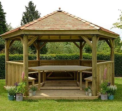 Carpa de jardín hexagonal de madera de 4, 0 m con techo de cedro de Nueva Inglaterra: Amazon.es: Jardín