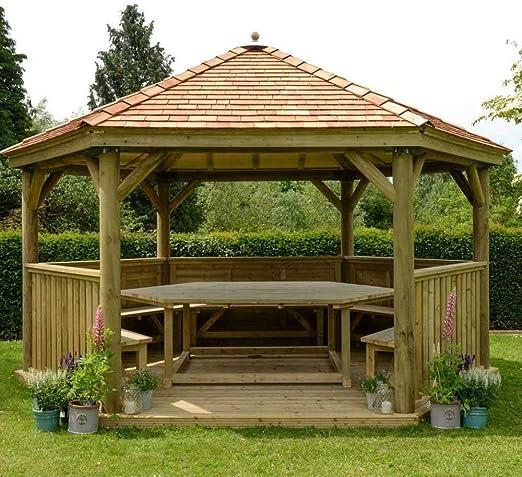 Carpa de jardín hexagonal de madera de 4, 0 m con techo de cedro ...