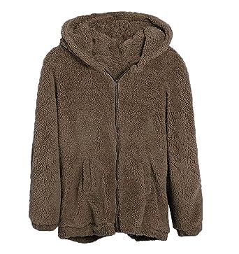 Leegoal Women Teddy Bear Ear Coat Hoodie Hooded Outerwear, Coffee ...