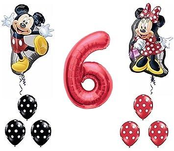 Amazon.com: Rojo Número 6 De Mickey y Minnie Mouse Full Body ...
