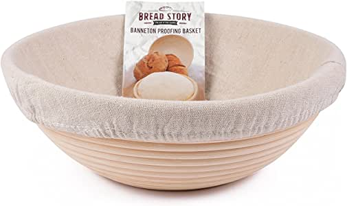 (25 cm) Round Banneton Proofing Basket Set - Brotform Handmade Unbleached Natural Cane For homemade Crusty Fresh, Easy to Bake Bread With Professional Marks Rising dough Bread Kit with washable Cloth Liner