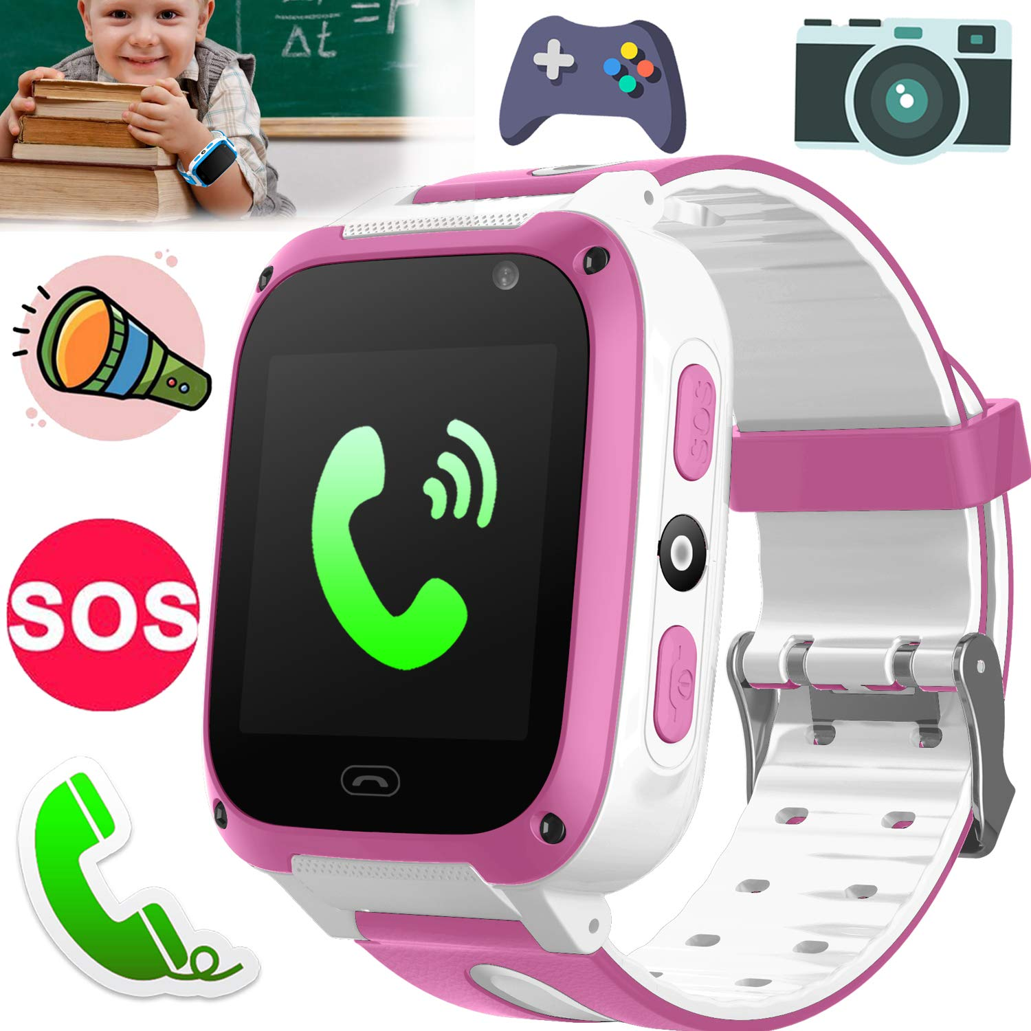 Kids Smart Watch Phone Game Smartwatches for Boys Girls Back to School Digital Wrist Watch Touch Screen One-button SOS Camera Anti-lost Outdoor Travel Cellphone Watch Bracelet Electronic Learning Toys