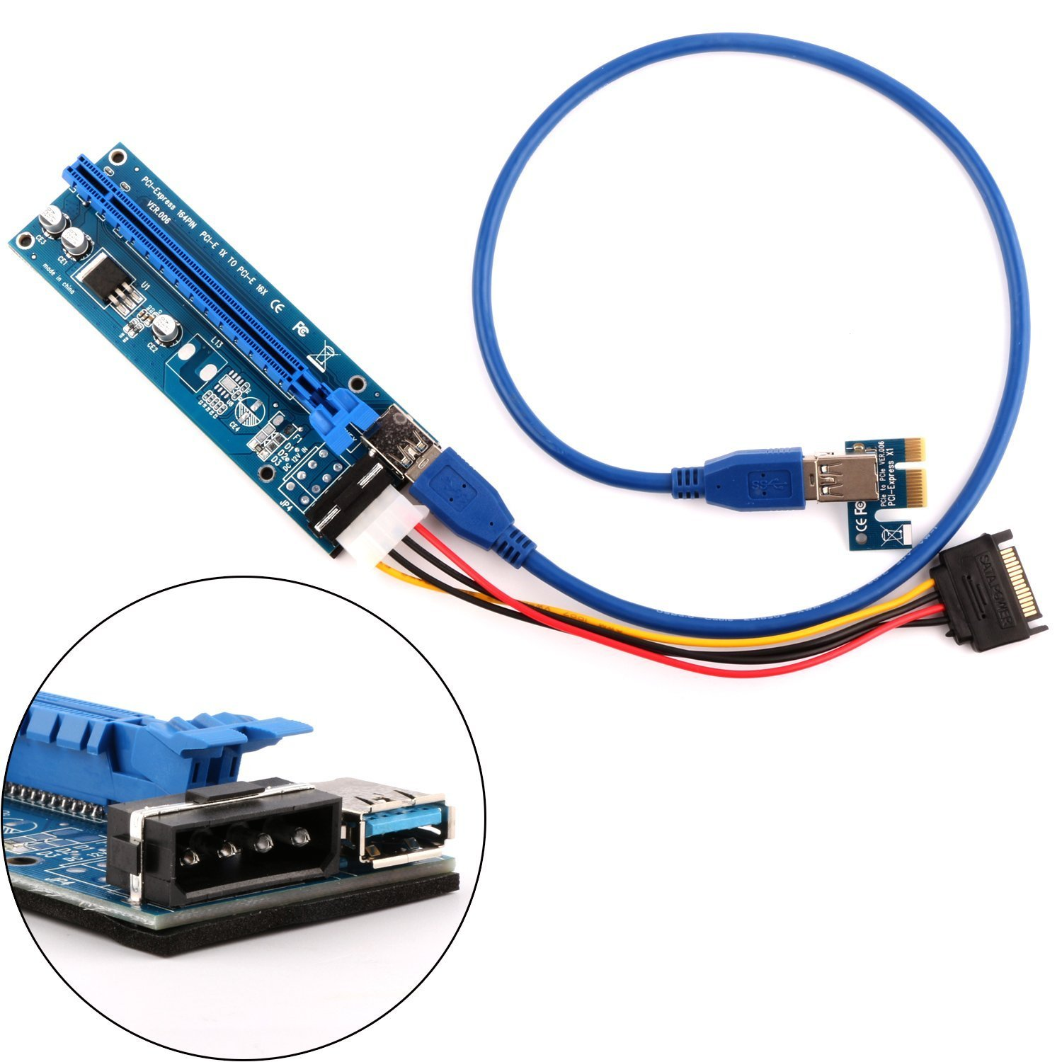 PowerStar PCIe VER 006 PCI-E 16x to 1x Powered Riser Adapter Card w/ / 60cm USB 3.0 Extension Cable & MOLEX to SATA Power Cable - GPU Riser Adapter - Mining ETH & Bitcoin (1 Pack)