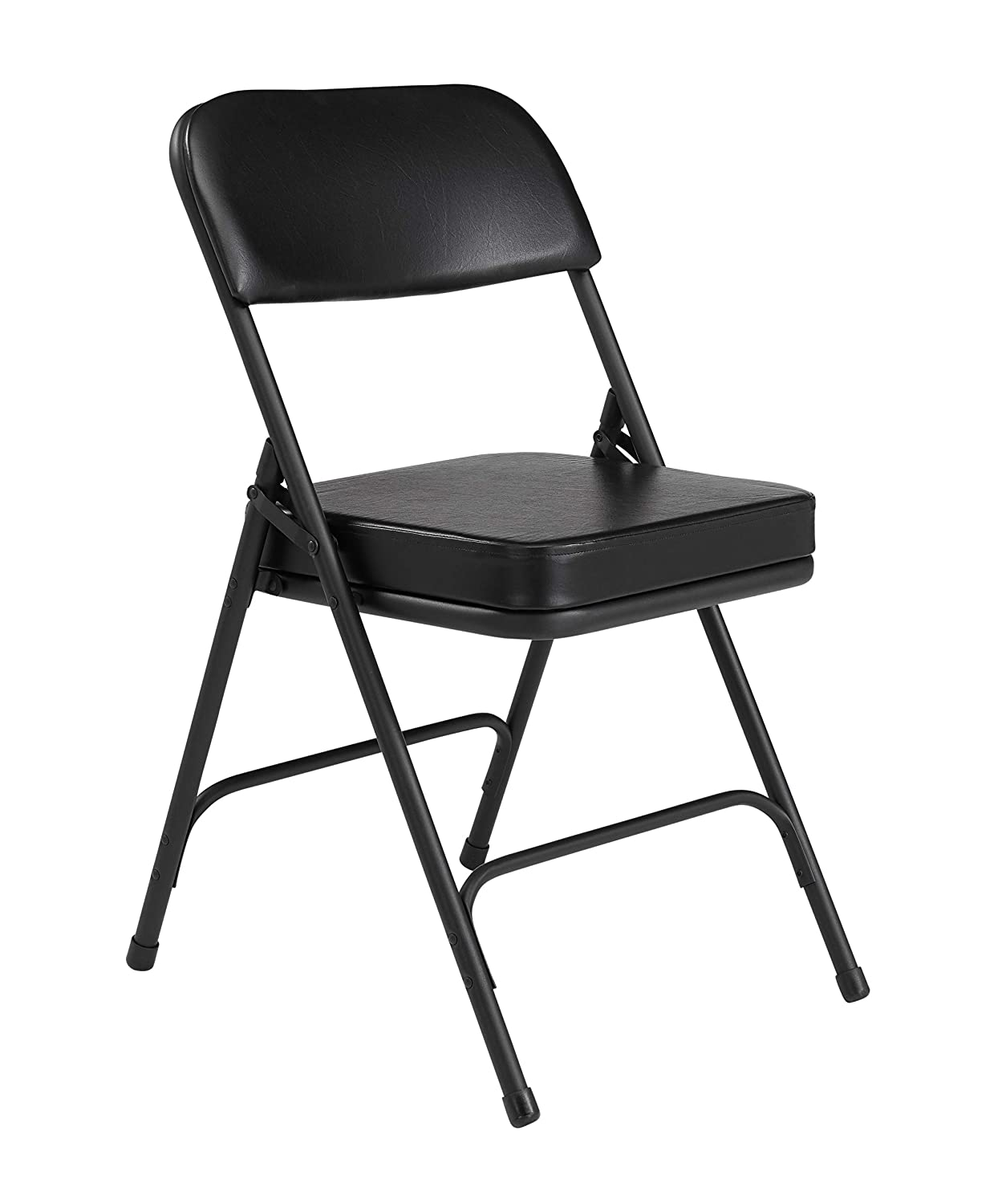 2 Pack NPS 3200 Series Premium 2 Vinyl Upholstered Double Hinge Folding Chair, Black