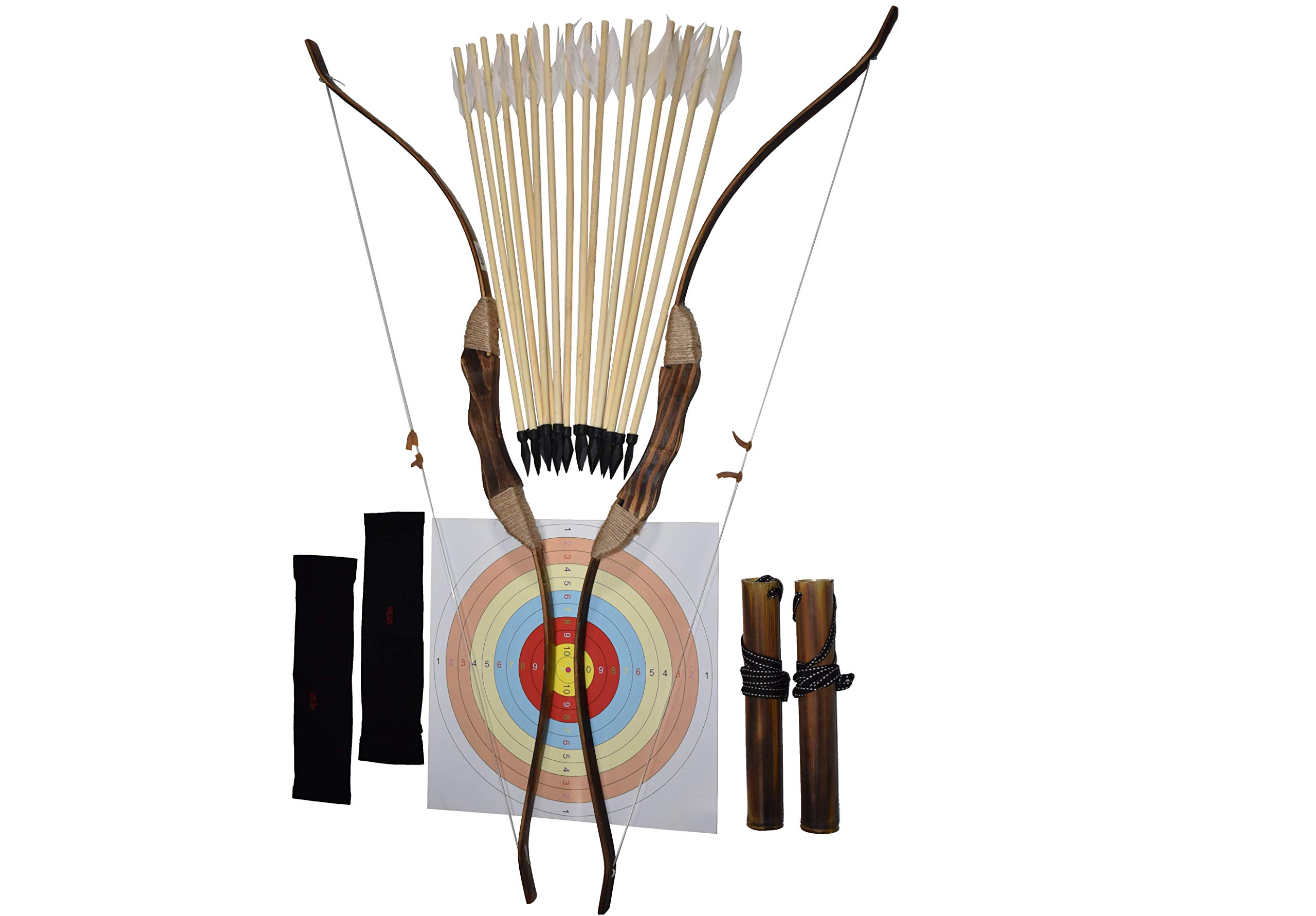 FSFF Enhanced Wooden Bow and Arrow for Kids 2-Bows 2-Four Arrow quivers 16-Arrows w/ Feathers 10-Large Targets & 2-armguards Great Archery Set for Youth boy / Girl Beginner Archery Set for Kids