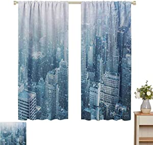 "Petpany Blackout Curtains 2 Panels Winter,Snow in New York City Image Skyline with Urban Skyscrapers in Manhattan USA,White Pale Green,Insulating Room Darkening Blackout Drapes 42"" W x 54"" L"