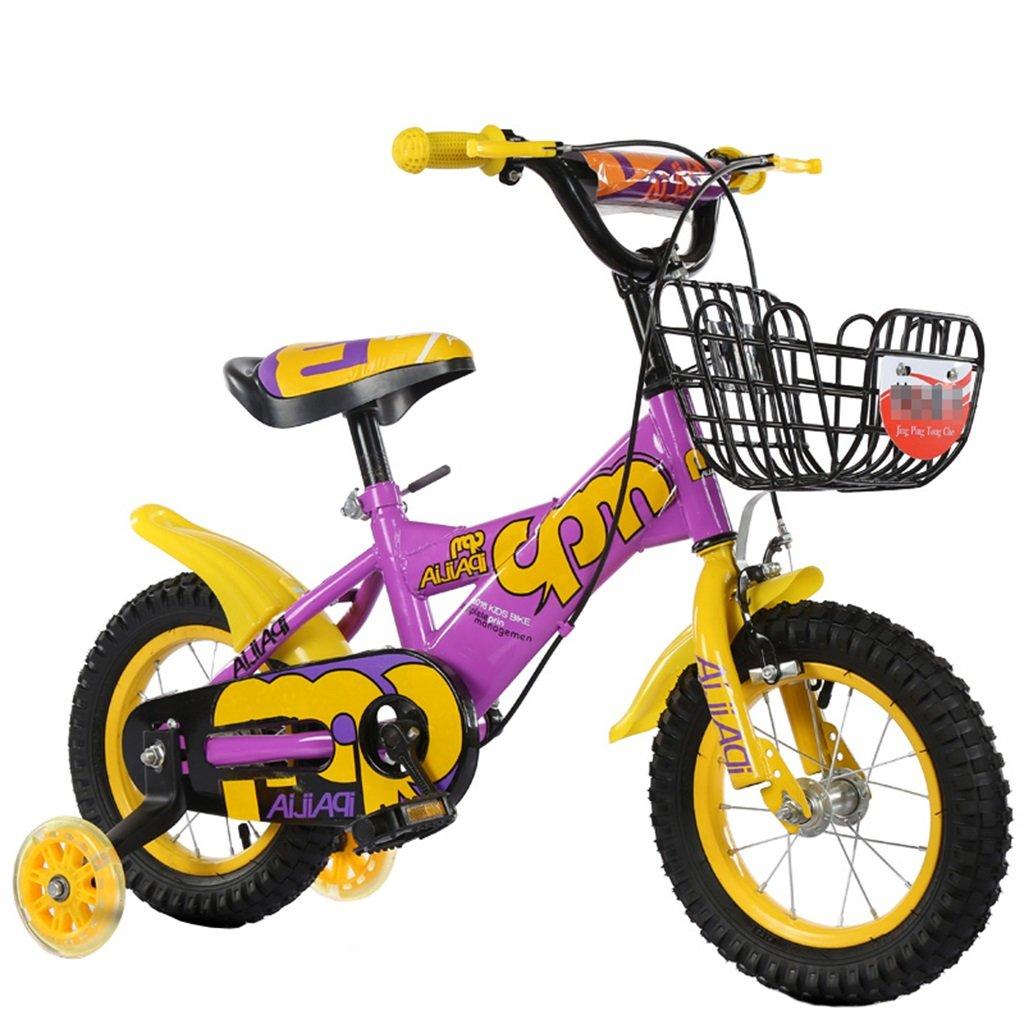 KANGR-子ども用自転車 子供の自転車適切な2-3-6-8男の子と女の子子供のおもちゃアウトドアマウンテンバイクのハンドルバー/サドルの高さは、フラッシュトレーニングホイールで調整できます-12 / 14/16/18インチ ( 色 : イエロー いえろ゜ , サイズ さいず : 12 inch ) B07BTYC9GG 12 inch|イエロー いえろ゜ イエロー いえろ゜ 12 inch