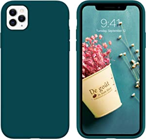 DUEDUE iPhone 11 Pro Max Case, Liquid Silicone Soft Gel Rubber Slim Cover with Microfiber Cloth Lining Cushion Shockproof Anti-Scratch Full Body Protective Case for iPhone 11 Pro Max,Teal
