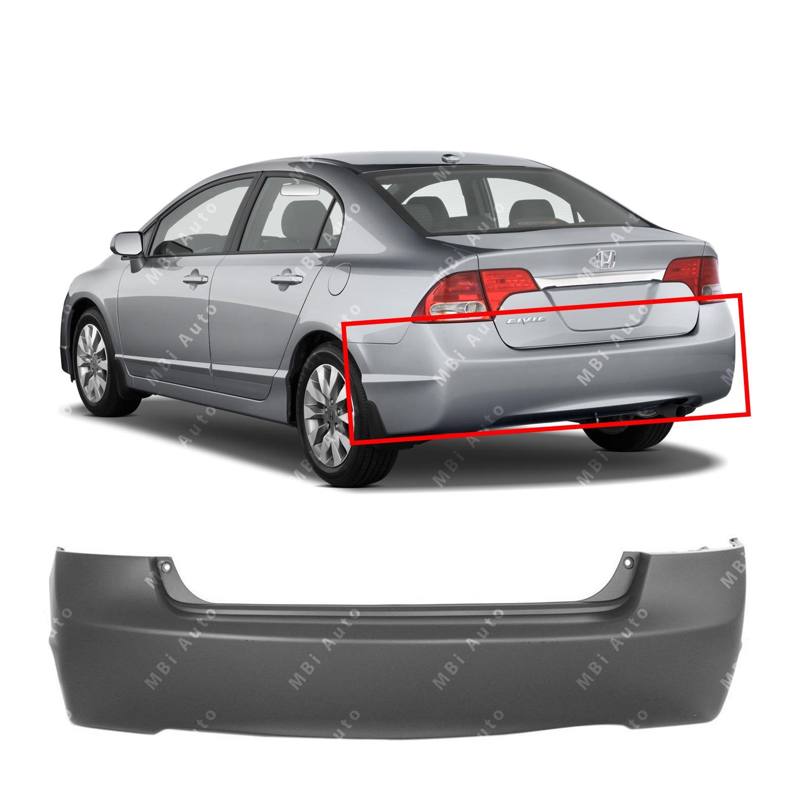 MBI AUTO - Primered, Rear Bumper Cover for 2006-2011 Honda Civic Sedan 4-Door 06-11, HO1100235